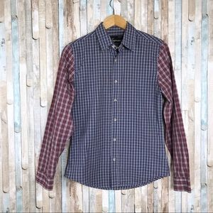 Topman S Mixed Plaid Checked Button Down Shirt
